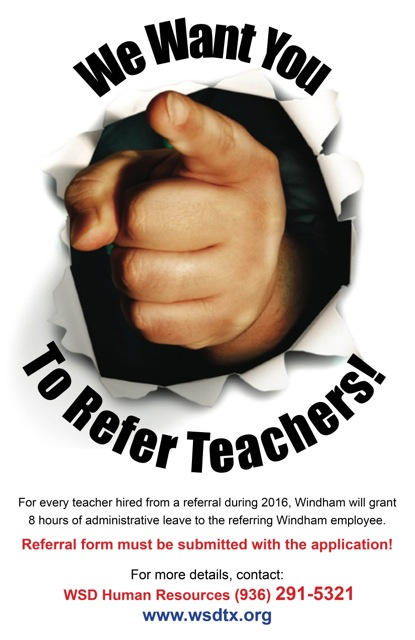 We want you to Refer Teachers!