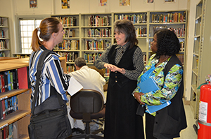 CHANGES teacher Victoria Koehn (center) describes WSD's pre-release life skills program to Navasota Examiner reporter Nicole Wilcox (left) and WSD Principal LeeEtta Clabron.