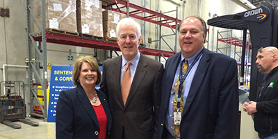 U.S. Sen. John Cornyn (center) meets WSD Principal Teresa Craiker and Superintendent Dr. Clint Carpenter during a visit to the San Antonio Food Bank.