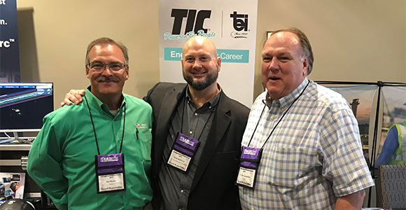 Windham School District Superintendent Dr. Clint Carpenter (right) and Workforce Specialist Rex Rhone thank Regional Recruiting Manager Brian Robinson of TIC for partnership support.