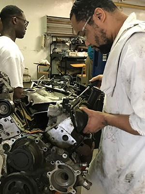 Diesel Mechanic students at the Polunsky Unit learn skills that can lead to Automotive Service Excellence certification.