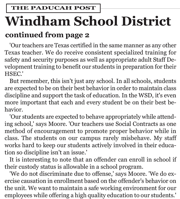 TDCJ Windham School District: An Ongoing Success Story