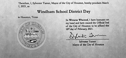 City of Houston Declares Windham School District Day
